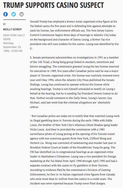 @Khanoisseur  Jan 8  14. Danny Leung, VP Foreign Marketing at Trump's casino was ID'd by US Senate as member of organized crime/money laundering outfit 14K Triad