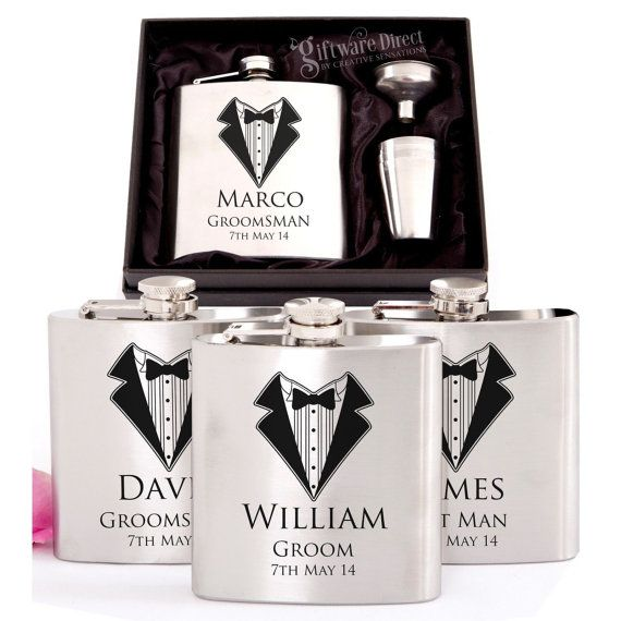4x Engraved Stainless Hip Flask Gift Sets by GiftwareDirect