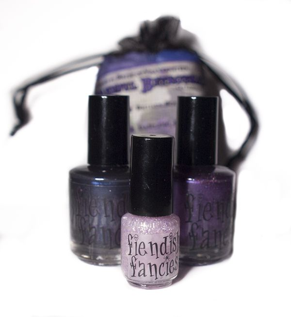 Inspired by Bride of Frankenstein, the Baneful Betrothal charity trio for Cystic Fibrosis by Fiendish Fancies ~ 5-Free, vegan, cruelty-free Nail Lacquer hand-poured in Canada