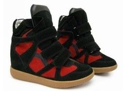 Isabel Marant Bekket High-top Suede Red Black Sneakers are comfortable