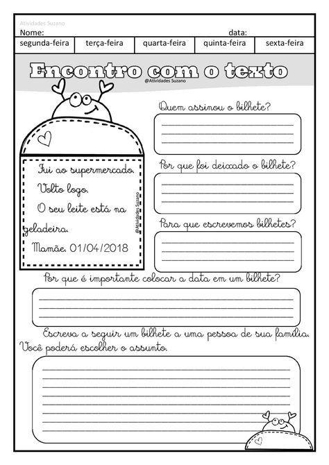 Trabalhando Bilhete E Lista Em Pdf Atividades Pedagogicas