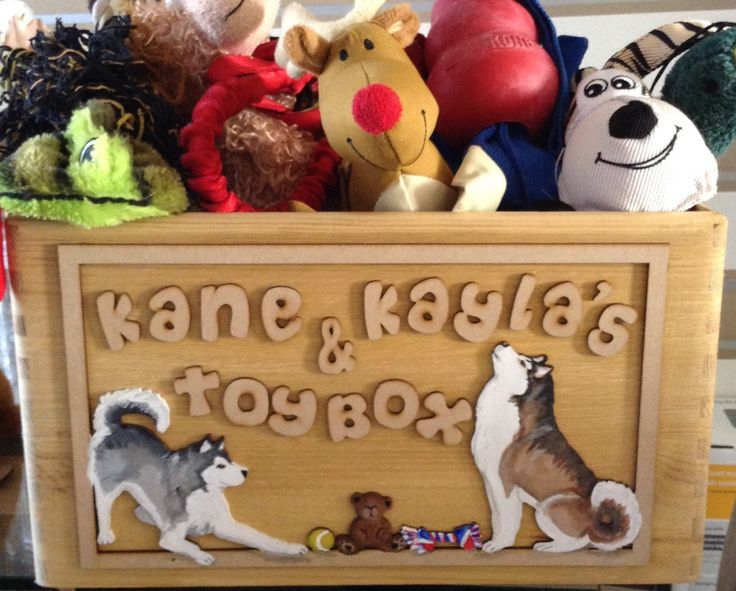 dog toy box cusomised with handpainted images by Mscraftycreatures on Etsy