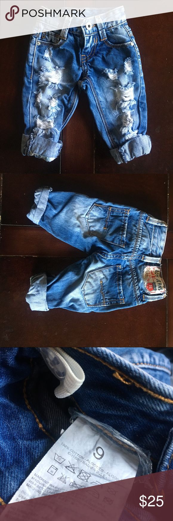Super Cute and Stylish Baby Boy Ripped Jeans-6m Trendy ripped jeans for your little man in excellent condition. Tag says size 9 months but I had mine wear them 3-6 with the legs rolled due to smaller waist band and stiffer material. These are free from any flaws or staining and have been worn only three times. Not sure of brand but similar to Zara in style. like Zara Bottoms Jeans