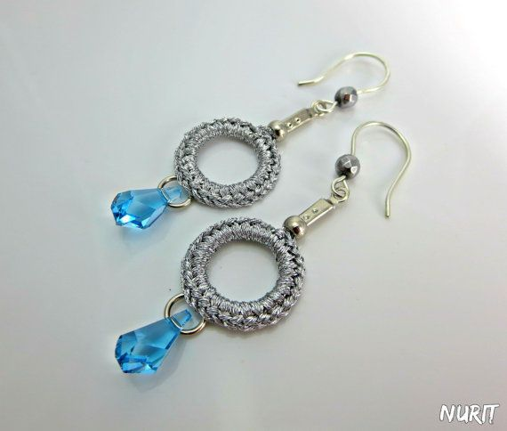 #Swarovski,  #earrings, #blue, #drop, #dangle, #crochet, #silver, #hook, #jewellery, #handmade