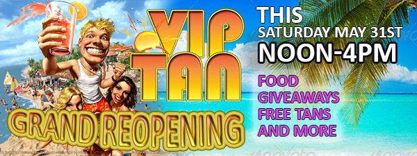 On May 31, 2014, VIP Tan Salon in St. Louis MO had a grand reopening celebration!! Beautiful interior lighting, new window art, state-of-the-art tanning bands and the best tanning specialists in town! Stop by and see us sometime. www.VIPTanSalon.com