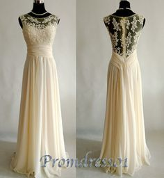 2015 spring new design unique long creamy lace chiffon round neck vintage long prom dress for teens, ball gown, bridesmaid dress, evening dress #promdress #wedding