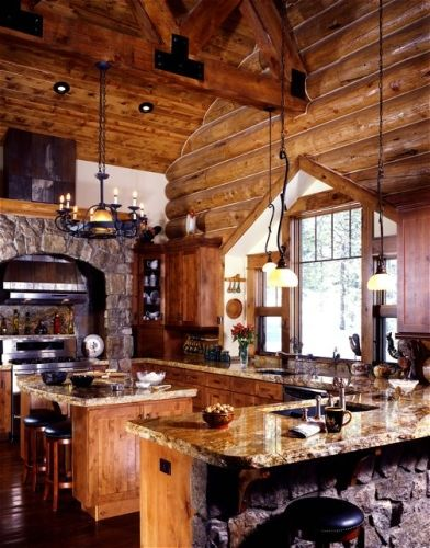 Gourmet kitchen in log home. Can you imagine a home with this kitchen in the…
