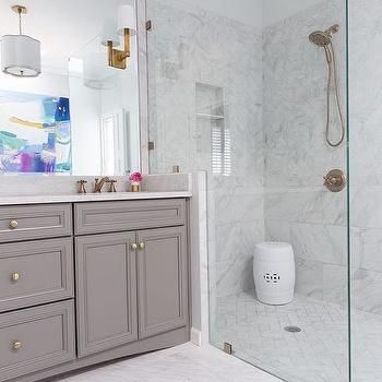 Grey and White Porcelain Marble like Shower Tiles, Contemporary, Bathroom, Benjamin Moore Chelsea Gray
