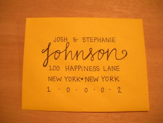 Custom Wedding Envelopes- Lettering/Modern Calligraphy. $1.75, via Etsy.