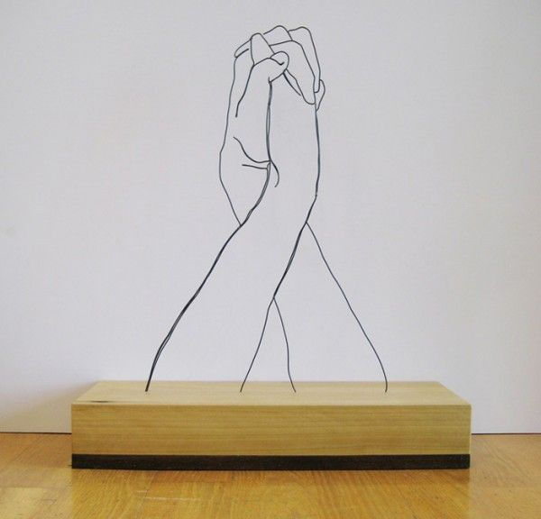 Hands Clasped Steel Wire Sculpture by Gavin Worth