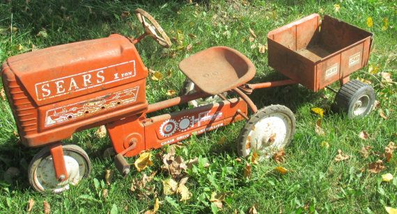 Drive Chain Tractor : Red ton sears chain drive transmission pedal car tractor