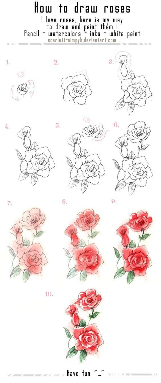 122 - Draw and paint roses by Scarlett-Aimpyh.deviantart.com on @deviantART: