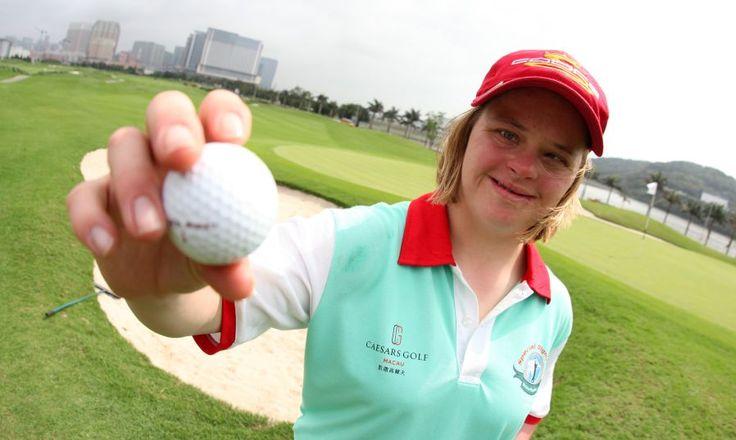 she loves playing #golf in #Macao @Johan Caesar Golf Macau #specialolympics