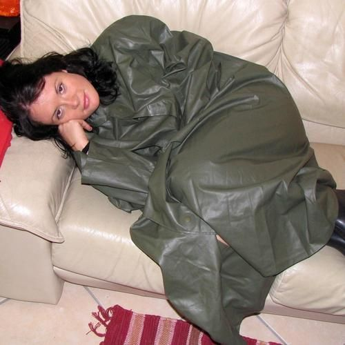 Green Rubber Raincoat