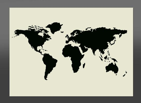 World Map Stencil - Various Sizes -Made From High Quality Mylar For my mirror etching project.
