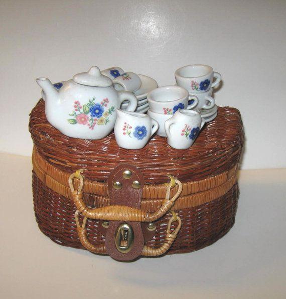 Miniature Tea sets, Vintage wicker picnic basket, Vintage toy, Kids