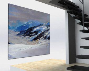 Grande pittura a olio, opere d'arte originali su tela, pittura di paesaggio impressionista, la neve sulle montagne innevate