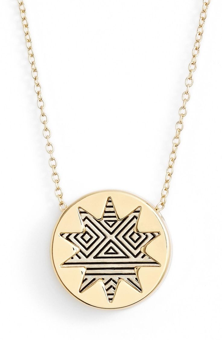 Current crush: this pendant necklace from House of Harlow 1960. The intricately etched sunburst motif hangs from a thin chain that will finish off any look.
