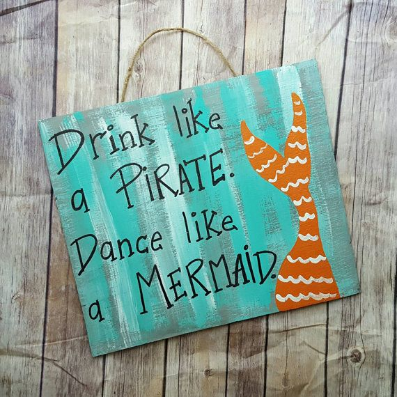 This custom mermaid / pirate sign measures approx 16 x 12 All signs are made to order so I can accomodate different sizes and colors. Just