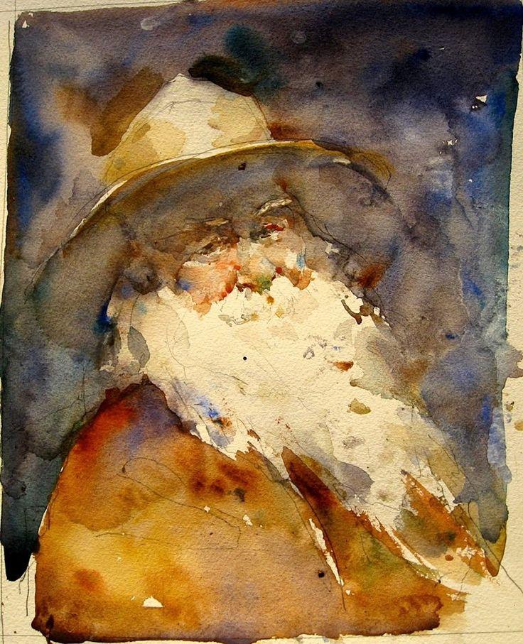 Walt Whitman. Watercolor by Charles Reid.