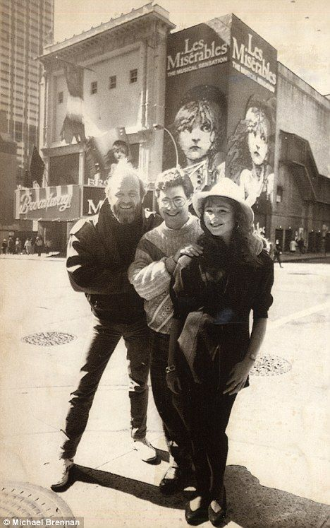 Colm Wilkinson (original Jean Valjean,) Cameron Mackintosh (producer,) and Frances Ruffelle (original Eponine,)- with the Les Miserables poster.