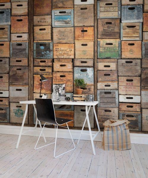 Industriel Urban Farm L.A. wall murals - wallpaper   Rebel Walls   Wallpaper   Colorful boxes wall mural