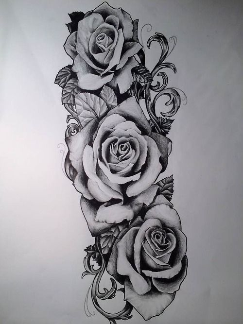 Rose Tattoo Sleeve Outline Пин от п�...