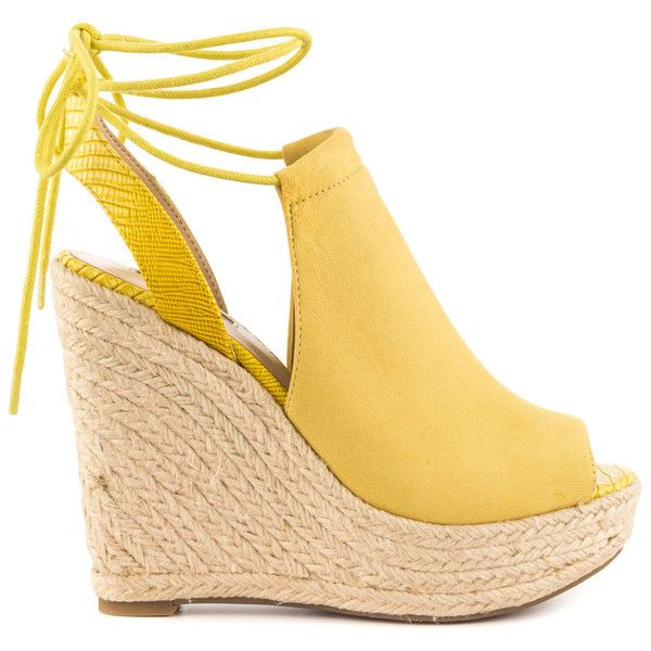 Guess Footwear Women's Orristi - Yellow Nubuck ($125) ❤ liked on Polyvore featuring shoes, yellow, espadrille wedge shoes, yellow platform shoes, peep-toe shoes, ankle strap shoes and yellow wedge shoes