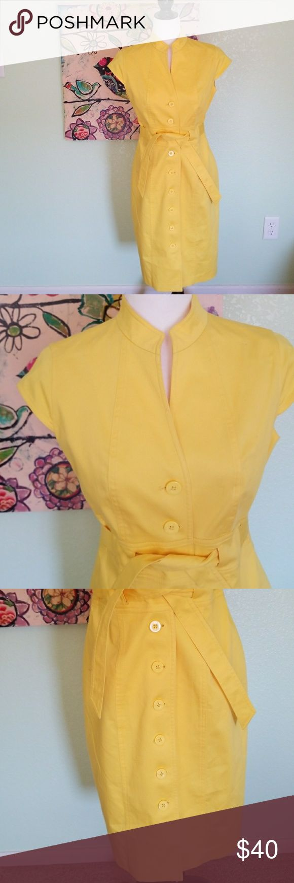 CALVIN KLEIN beautiful yellow dress size 6. CALVIN KLEIN beautiful yellow button down belted dress size 6 in excellent used condition. Calvin Klein Dresses High Low