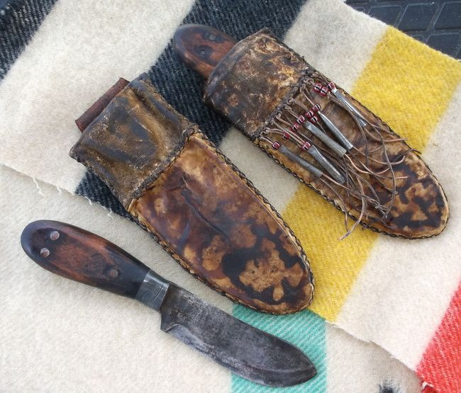 Simple Primitive mountain man Nessmuk knife in a rawhide sheath used the the film, THE REVENANT. About the grizzly bear mauling of the 19th century fur trapper Hugh Glass and his journey for revenge. More @ https://www.facebook.com/outoftheashesforge/