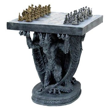 Gothic Dragon Furniture | Gold and Silver Chess Set Table with Sculpture Beneath