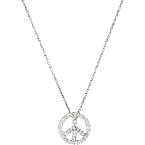 Roberto Coin Diamond Peace Sign Necklace ($375) ❤ liked on Polyvore featuring…