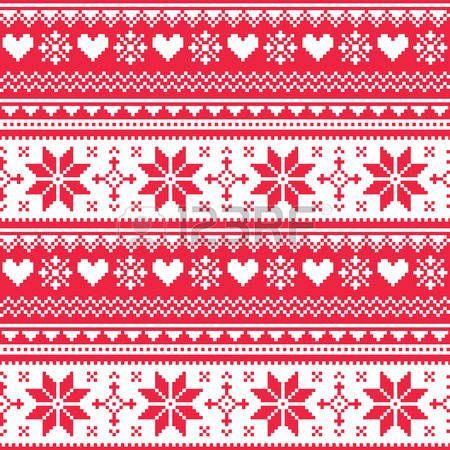 Nordic nahtlos gestrickten Weihnachten roten Herzmuster photo