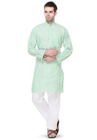 Woven Cotton Khadi Kurta Set in Pastel Sea Green