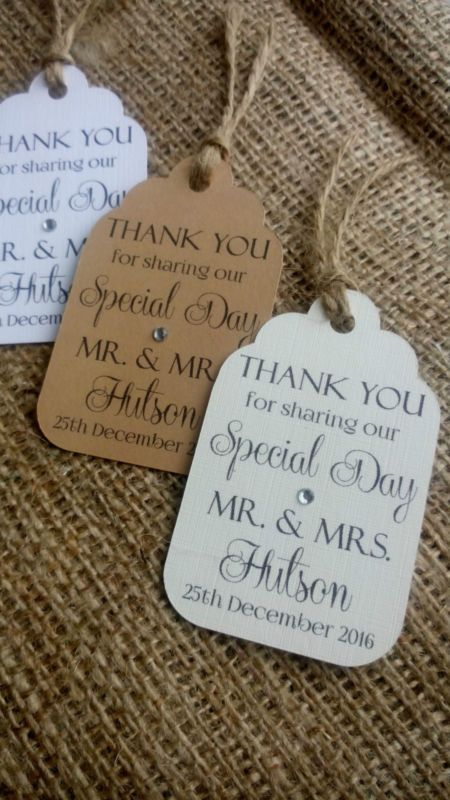 10 Personalised Wedding Favour Gift Tags Thank You Guest Label