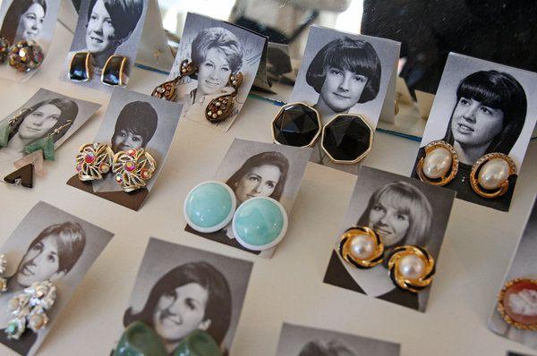 What a cute way to display vintage earrings! www.giftshopmag.com