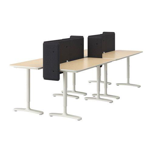 BEKANT Workstation - birch veneer/white, 280x120 cm - IKEA