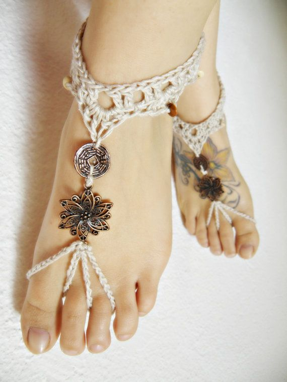 ViCtOriAN BAREFOOT sandles barefoot sandal crochet barefoot BOHO beaded SUMMER sexy anklet jewelry foot thongs bottomless shoes