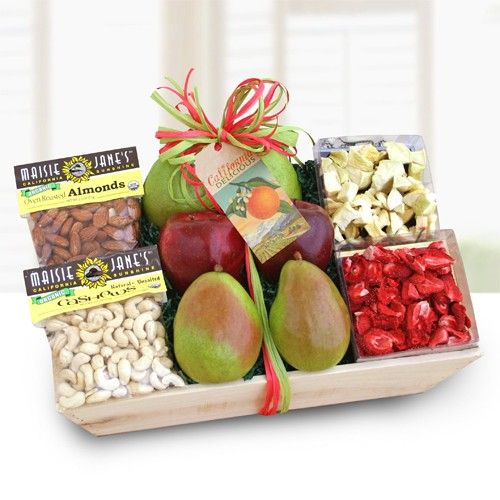 Organic Gift Crate $89.99 Freshly packed in the Golden State of California comes this fabulous gift of fresh organic apples and pears, nuts and dried fruit. Arranged in a rustic wooden crate, this gift includes crisp organic apples and sweet pears, Maisie Jane's organic roasted almonds and natural cashews, dried organic strawberries and apple bites. Satisfy the organic gourmet in your life with this delicious and healthy gift with a western flair.