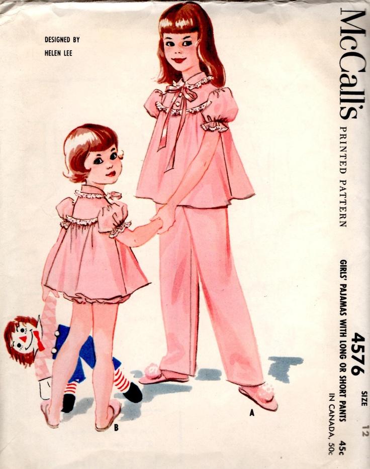 vintage 1958 girls PAJAMAS helen lee design mccalls sewing pattern SIZE 12 long short pants RETRO sweet via Etsy.