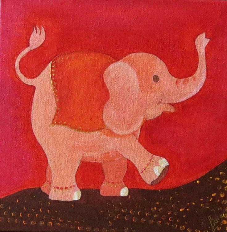 Elefantito rojo / Acrílico 20 x 20