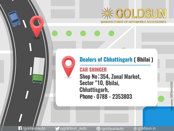 Our Dealer in Chhattisgarh ( Bhilai ). We, #Goldsun provide #Automobile #Accessories, #Bumper, #nudge_guards, #luggage_carriers, #side_steps for most indian cars.   For more details call : +91 80123 62111, +91 80123 32111  Visit your nearest #Automobile_Accessory store or www.goldsun.in.     #goldsun #dealers #bhilai #Chhattisgarh
