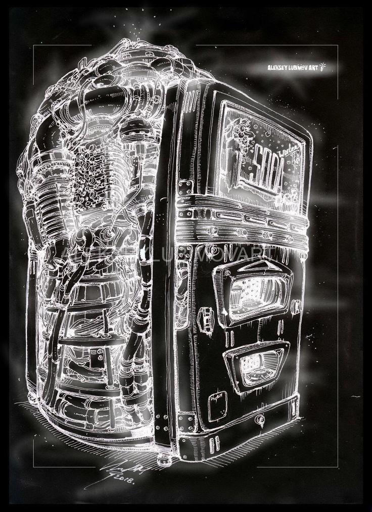 EnergySoda/Author Aleksey Lubimov. #alekseylubimov_art #алексейлюбимовбиомеханика #алексейлюбимов #стимпанк #дизельпанк #биомеханика #marchofrobots #steampunk #dieselpunk #biomechanical #lineart #engine #motor #inktober2018 #technodoodling