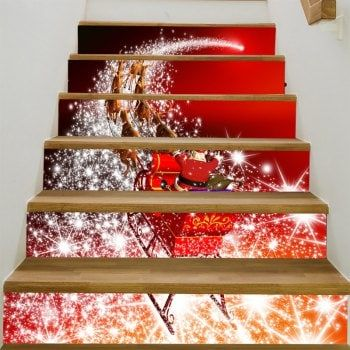 Starlight Christmas Sleigh Patterned Stair Stickers stairwell redo
