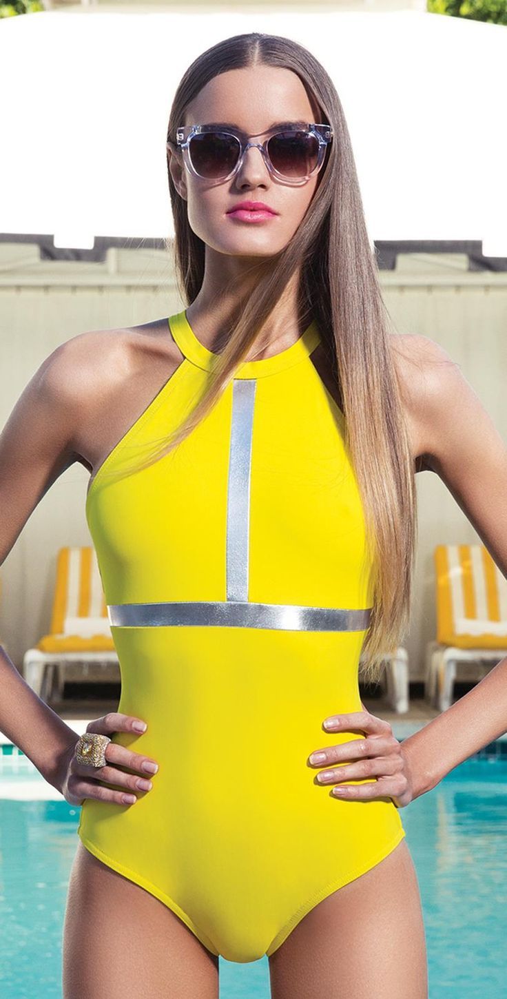 Karla Colletto 2014 Silver Inserts Yellow High Neck Swimsuit 268-460 | South Beach Swimsuits
