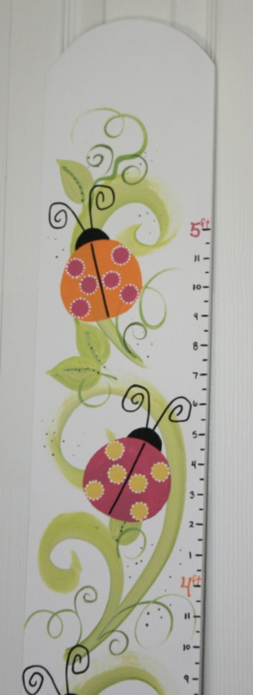 Ladybug Parade Girls Growth Chart  Hand Painted by PhabulouslyMe, $58.00
