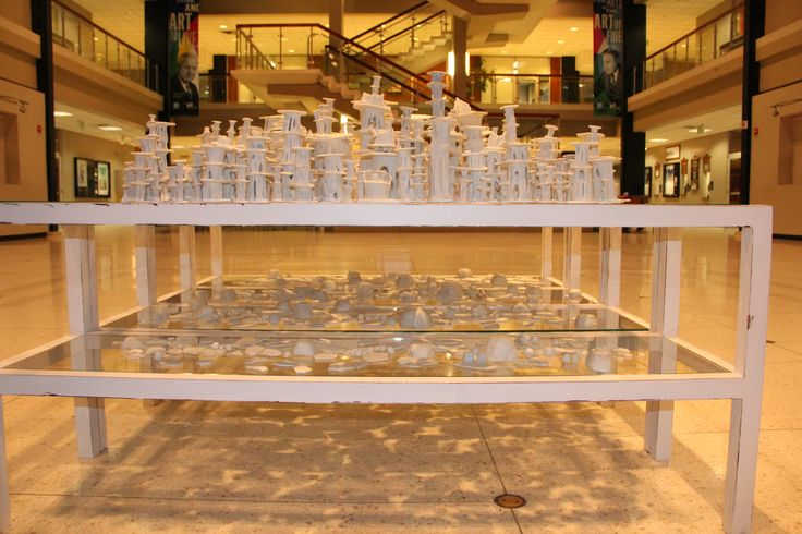 Title: Bravais Lattice, installation  800 porcelin sculptures 5ft by 5ft  2015 By Angela Broadbent  www.angelabroadbent.com