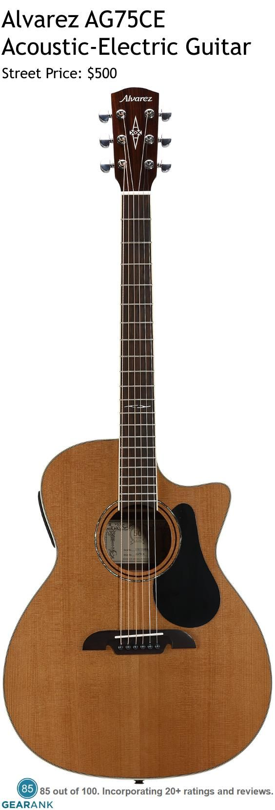 Alvarez AG75CE Acoustic-Electric Guitar.  This is one of Alvarez's best selling guitars.  For a Detailed Guide to The Best Acoustic Guitars see https://www.gearank.com/guides/acoustic-guitars