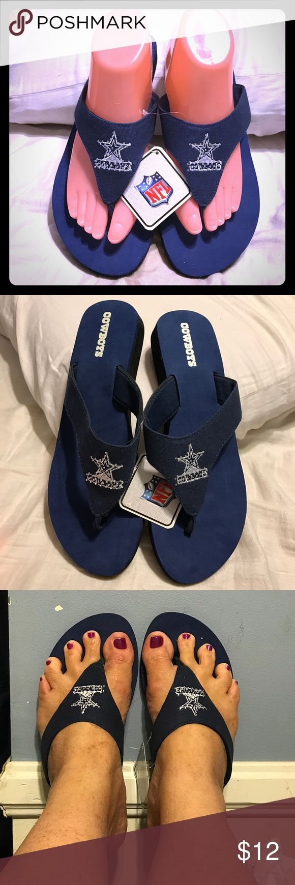 Brand New Dallas Cowboy Sandals Brand new Dallas Cowboy's NFL Sandals. They are size medium which fits a women's size 9/10 shoe. They have a navy blue footbed and it has the Cowboy's on it. The strap is white and has Cowboys embroidered on the center of the strap and it is embellished in diamond rhinestones. They are so adorable and are perfect for that Dallas Cowboy fan. The retail price is $26.00. NFL Shoes Sandals