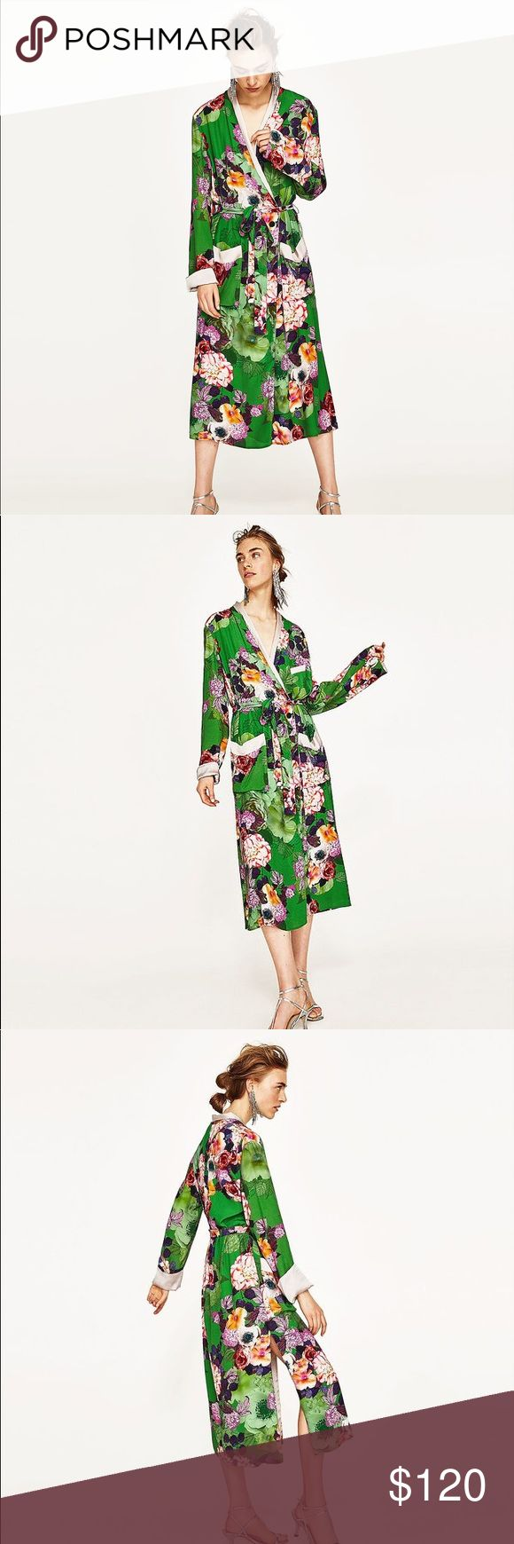 NWT Zara Green Long Floral Kimono Rose Dress ZARA SS17 2017 SOLD OUT EVERYWHERE REF. 2602/791 LONG, FLORAL PRINT KIMONO WITH LONG SLEEVES, POCKET DETAIL ON THE CHEST, PATCH POCKETS AND MATCHING BELT. KIMONO JS MISSING ONE BUTTON ON THE INSIDE (DOES NOT AFFECT CLOSING) AND ONE OF THE BELTLOOPS IS LOOSE. OTHERWISE IN PERFECT CONDITION Zara Jackets & Coats